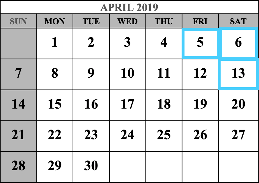 April 2019 MCAT Test Dates