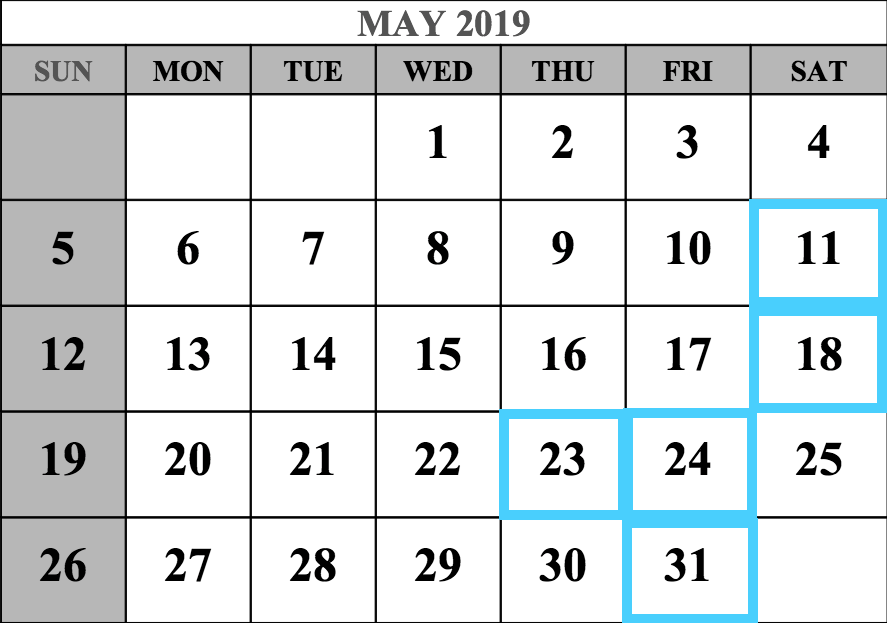 May 2019 MCAT Test Dates