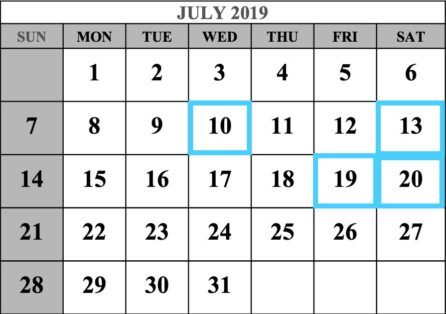 July 2019 MCAT Test Dates