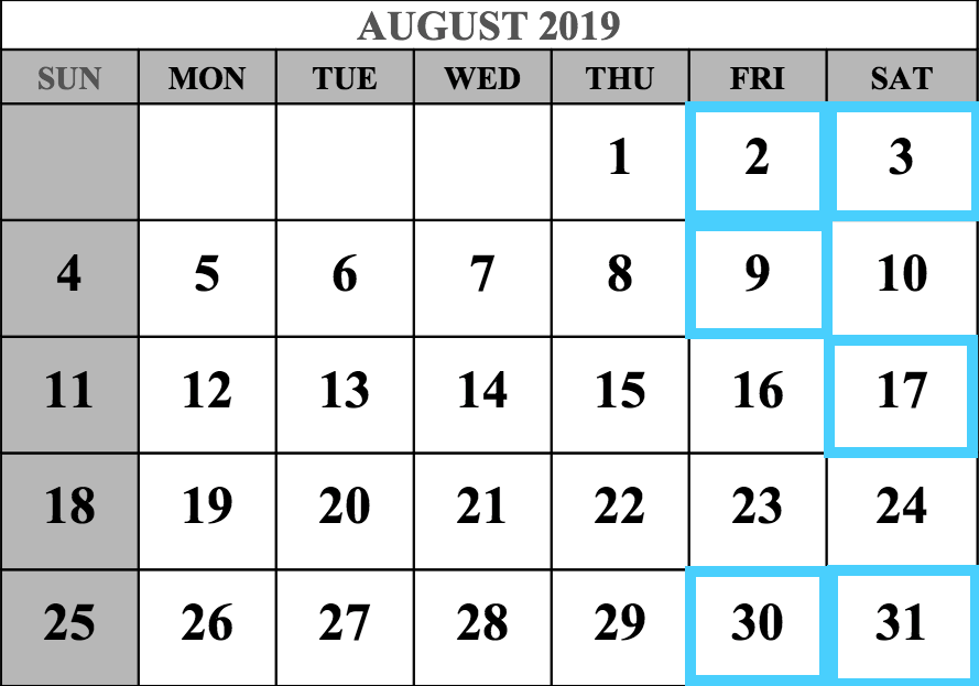 August 2019 MCAT Test Dates