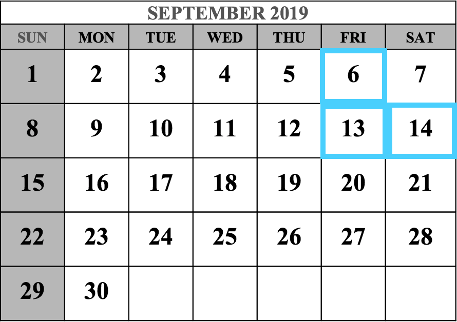 September 2019 MCAT Test Dates