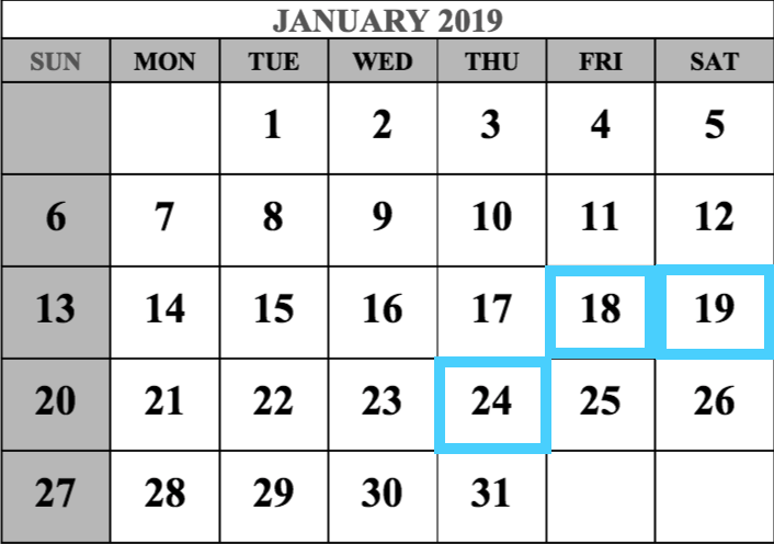 January 2019 MCAT Test Dates